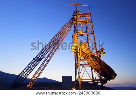 Old metal structure employed in mining work, Teruel, Aragon, Spain. - stock photo