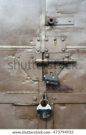 old metal warehouse door, hangar
