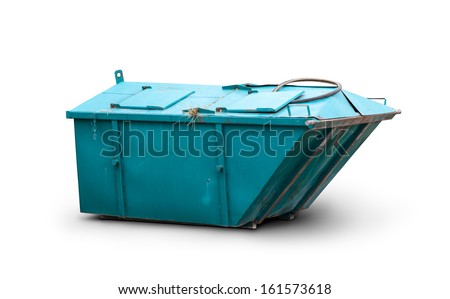 Old metal waste bin isolated on a white background. Clipping path included - stock photo