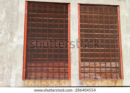 old metal windows - stock photo