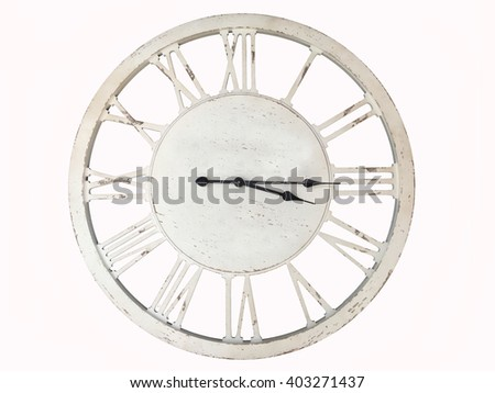 old metallic clock on a white background