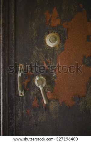 Old metallic door surface. Corroded background