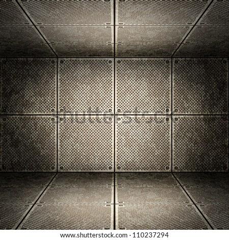 Old metallic interior, texture of metal. - stock photo