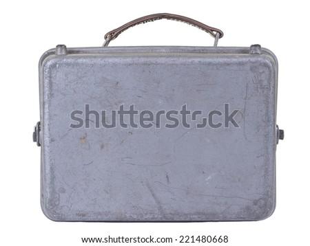 old metallic suitcase on white background  - stock photo