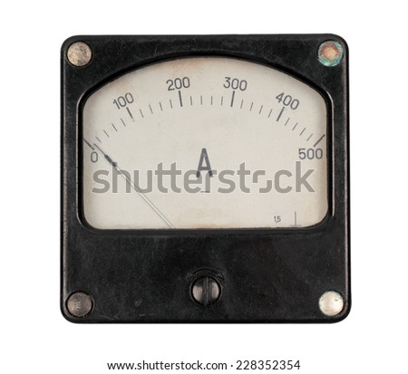 Old meter isolated on white background - stock photo