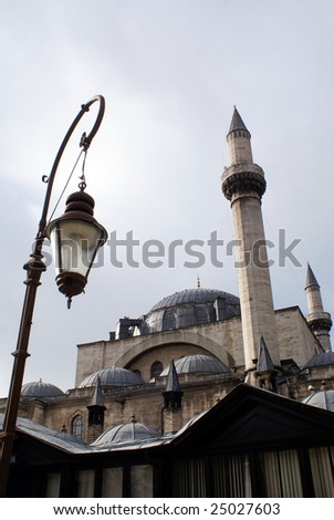 Old Mevlana mosque and lamp in Konya, Tur
