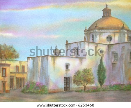 "Old Mexican Colonial Convent ,of Saint Francis, Queretaro, Mexico # 94-068; 28x43 cm. = 11""x17"" - stock photo"