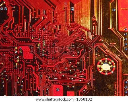 old microcircuit - stock photo