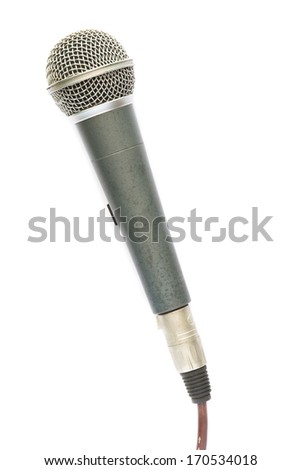 Old Microphone and cable isolated on white background - stock photo