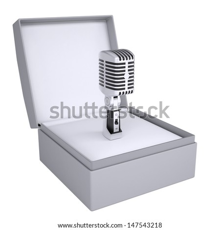 Old microphone in open gift box. 3d render isolated on white background - stock photo