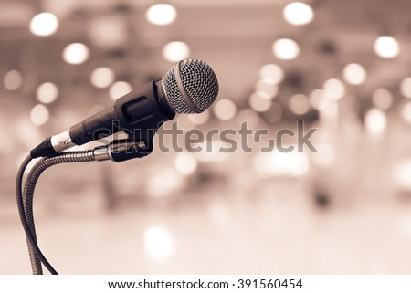 old microphone with blur perspective bokeh background