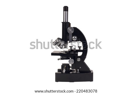 old microscope isolated on white background - stock photo