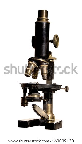 old microscope retro object technology isolated - stock photo