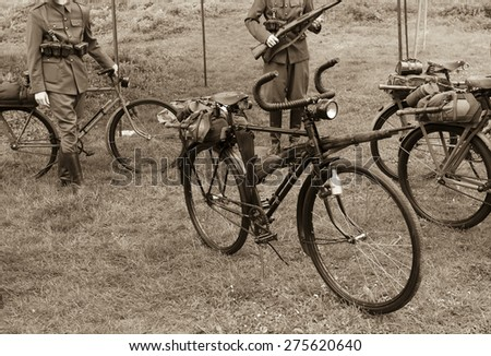 Old military bike used in the First and Second World War - stock photo