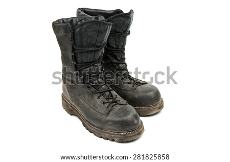 old military boots on a white background