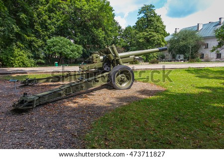 old military cannon in front of the museum in Dukla in Poland