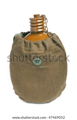 Old military flask isolated on a white background - stock photo