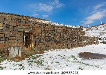 old military fortifications on the background of snow in Israel