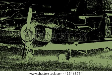 Old military propeller airplane ilustration close up view - stock photo