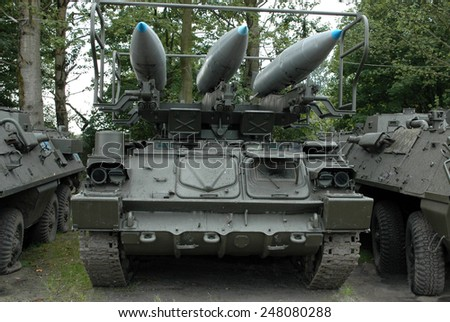 Old military vehicle in museum - stock photo