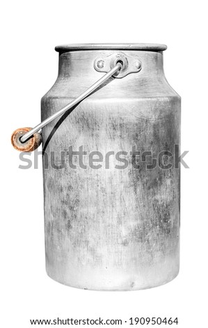 Old milk can isolated on white background. - stock photo