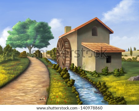 Old mill in a country landscape. Digital illustration. - stock photo