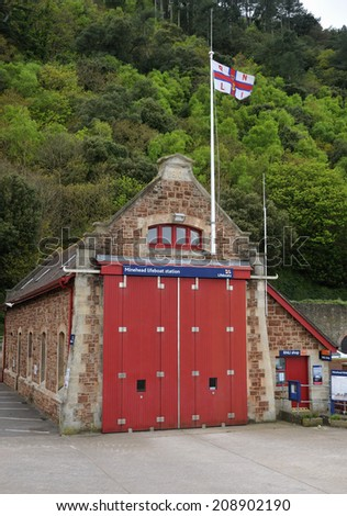 Old Minehead Lifeboat Station, Minehead Harbour, Somerset - stock photo