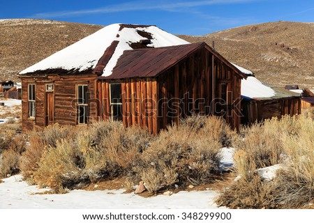 Old miners cabin in Bodie, California, USA. - stock photo