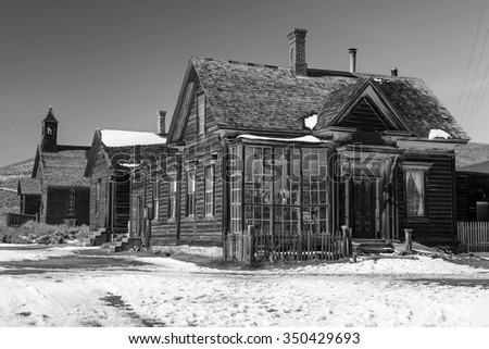 Old miners house in black and white, Bodie, California, USA.