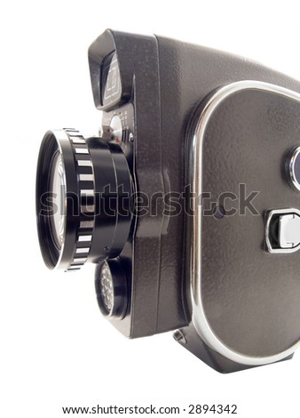 old 8mm film camera isolated on white - stock photo