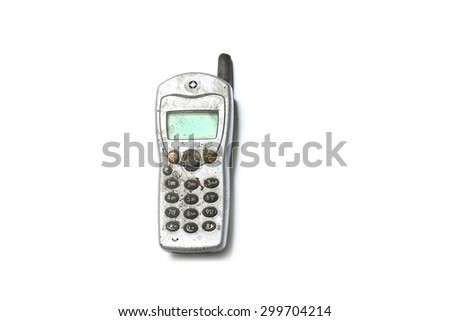 old mobile phone on white background  - stock photo