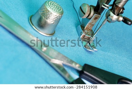 Old model of sewing machine. - stock photo