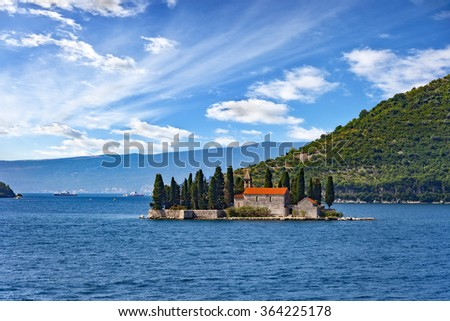 Old monastery on the island of St. George in Kotor, Montenegro.
