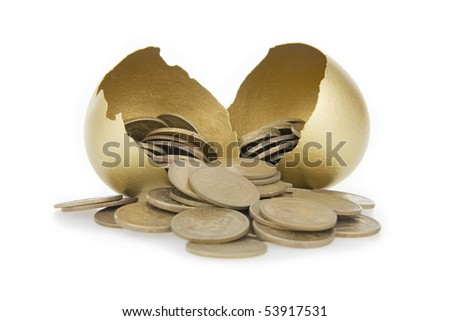 Old money and broken gold egg,on white background.