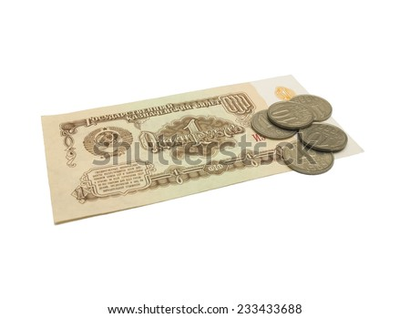 Old money from USSR on white background, isolated - stock photo