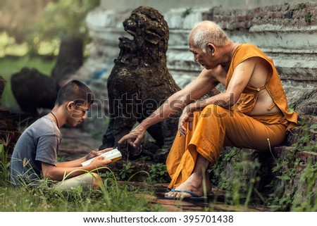 Old monk teaches boy