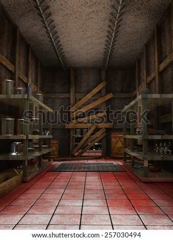 Old morgue warehouse with blood on the floor