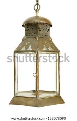 old morocco metal lantern - stock photo