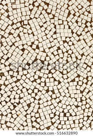 Old mosaic texture on the wall. Landscape style. Great background or texture.