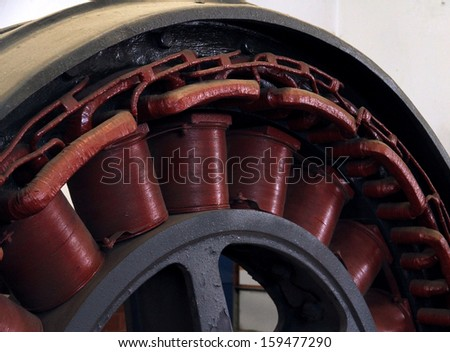 old motor rotor in a power plant to produce electricity - stock photo