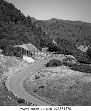 Old Mountain Road, Black and White Vintage Film  - stock photo