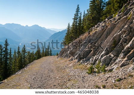 Old mountain road on Sulphur Mountain in Banff National Park.
