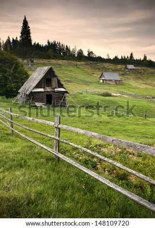 Old mountain village with wooden houses in a forest - stock photo