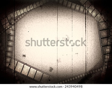 Old movie black and white empty frame with films - stock photo