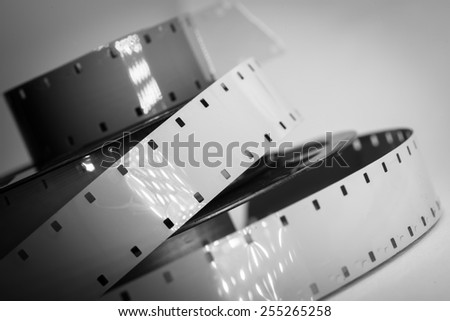 Old movie camera film reel strip