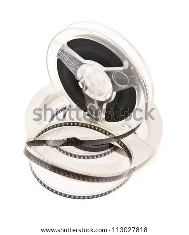 old movie film is isolated on a white background - stock photo
