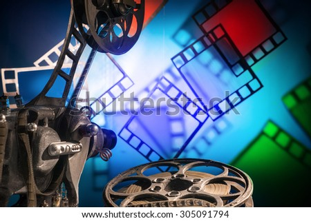 Old movie film projector - stock photo