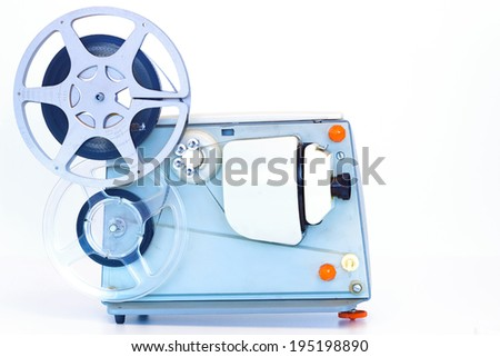 Old movie projector ; Old 8 mm home movie projector,isolated on white background,photography - stock photo