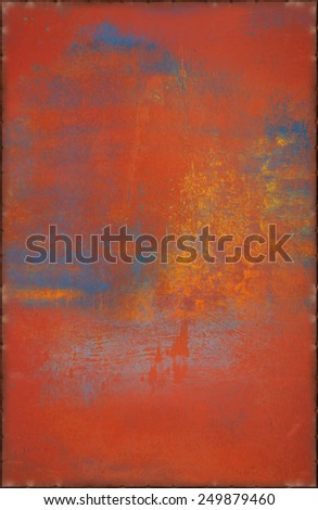 Old Multicolored Metal Background with Rusty Seams Along Edges (Part of Colorful Metal Textures set, which includes 12 textures that fit together perfectly to form a huge image) - stock photo