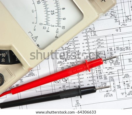 stock photo old multimeter on the wiring diagram 64306633 wiring diagram stock images, royalty free images & vectors international 3488 wiring diagram at n-0.co